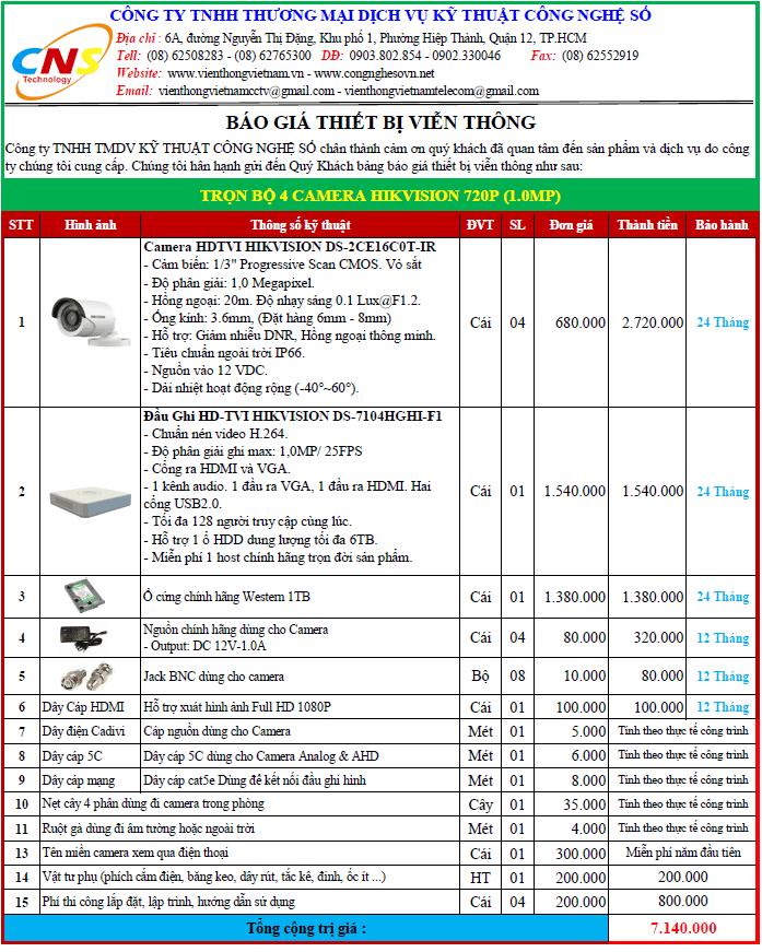 Bảng báo giá trọn bộ 4 camera Hikvision 720P (1.0MP)