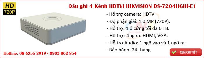 Đầu ghi hình 4 kênh HDTVI HIKVISION DS-7204HGHI-E1 (Hổ trợ được camera HDTVI 1.0MP)